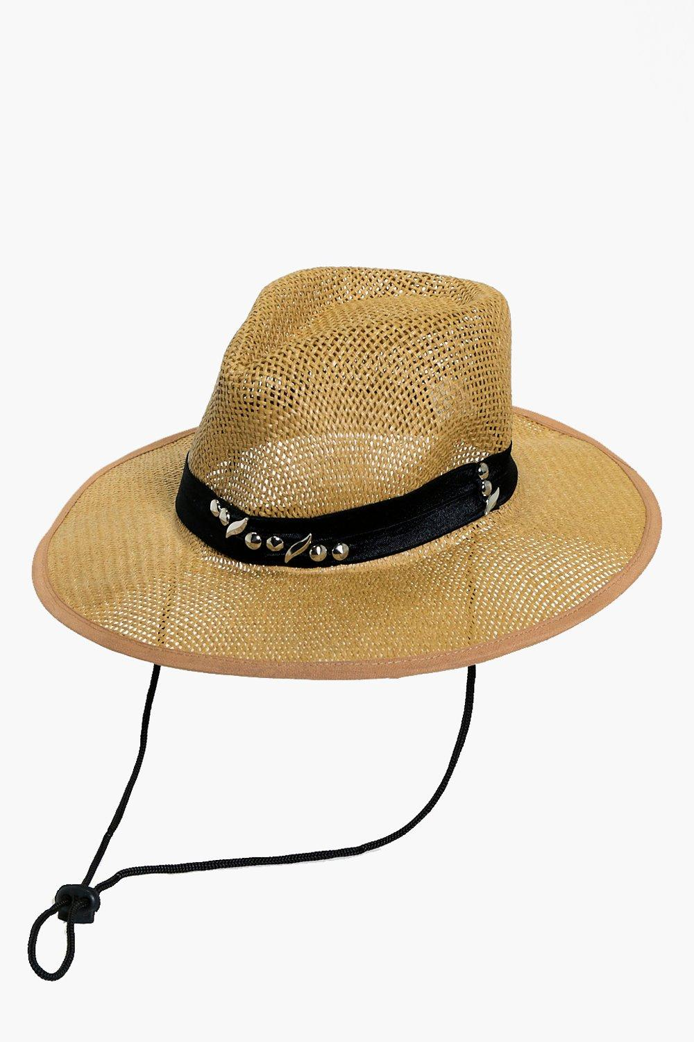 Embellished Straw Fedora - natural - Maisie Embell