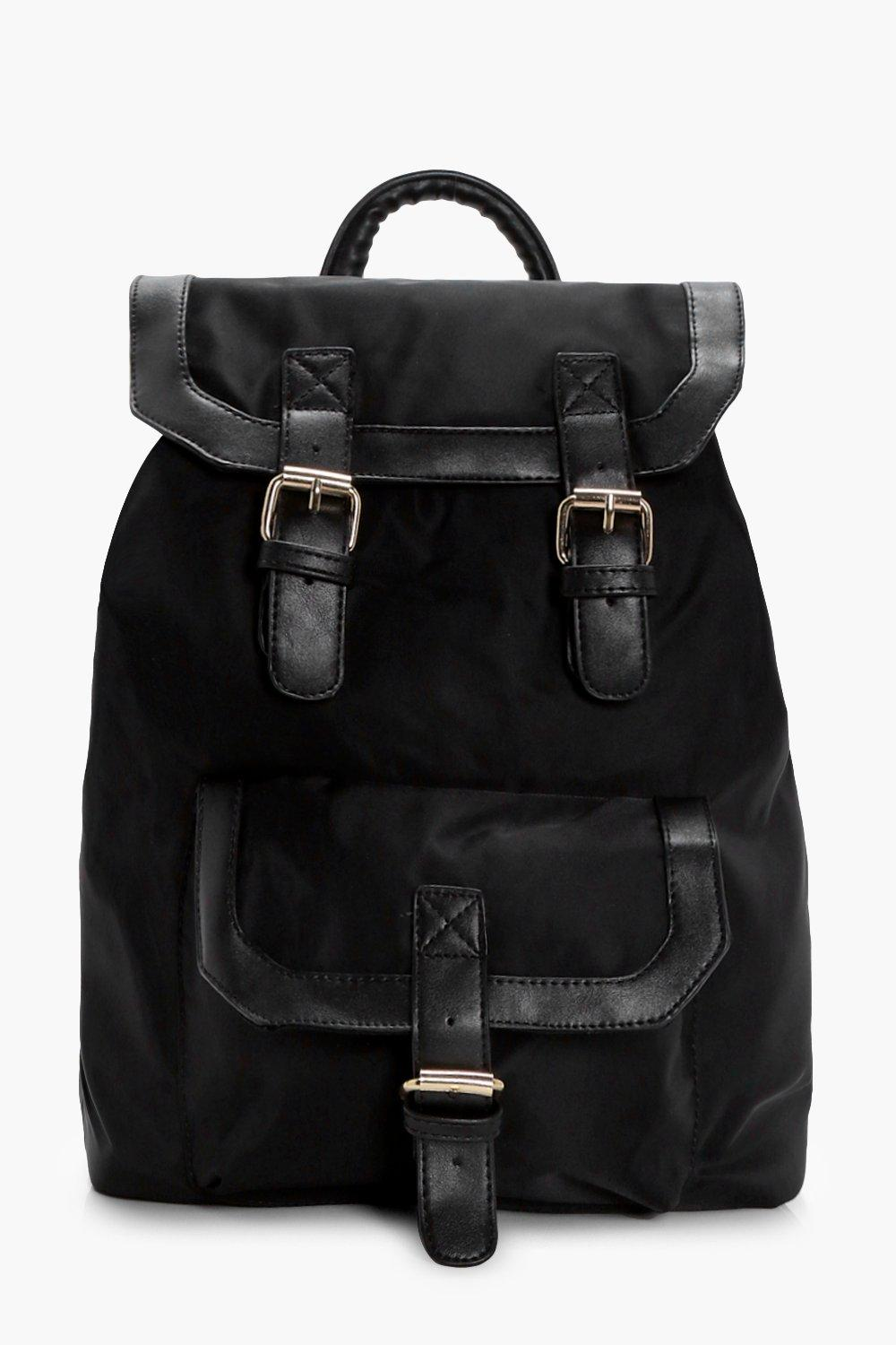 Nylon Buckle Pocket Rucksack - black - Ruby Nylon