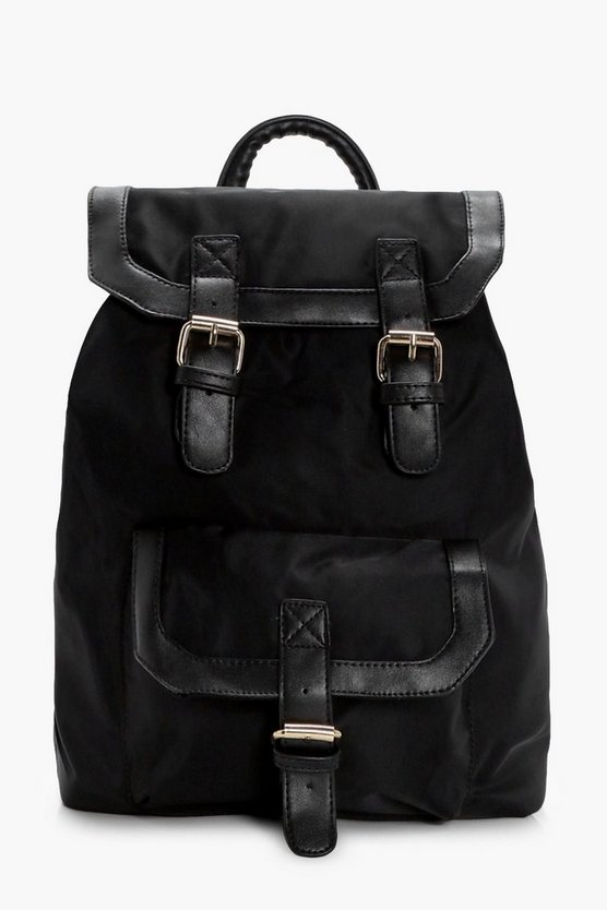 Ruby Nylon Buckle Pocket Rucksack