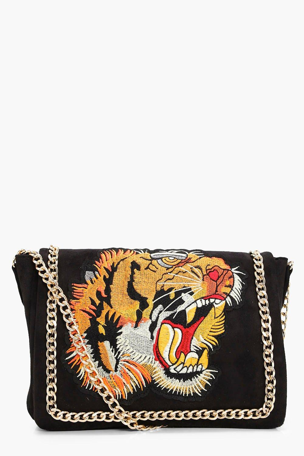 Embroidered Tiger Cross Body Bag - black - Grace E