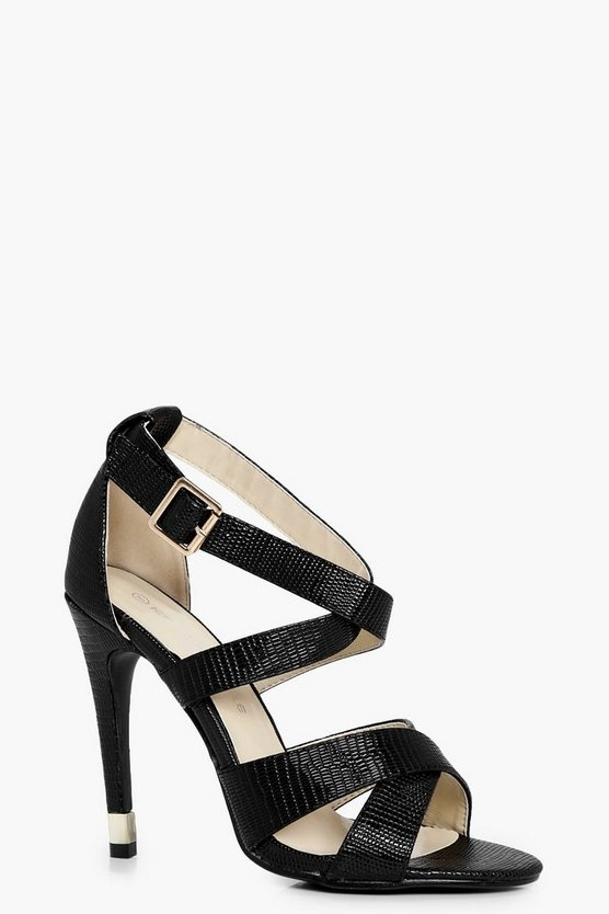 Eleanor Cross Strap Lizard Heels