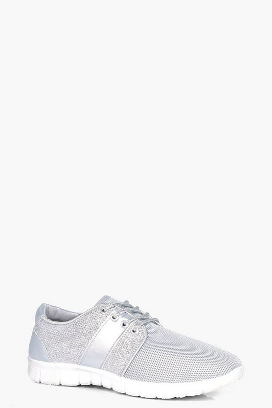 Emma Lace Up Shimmer Trainer