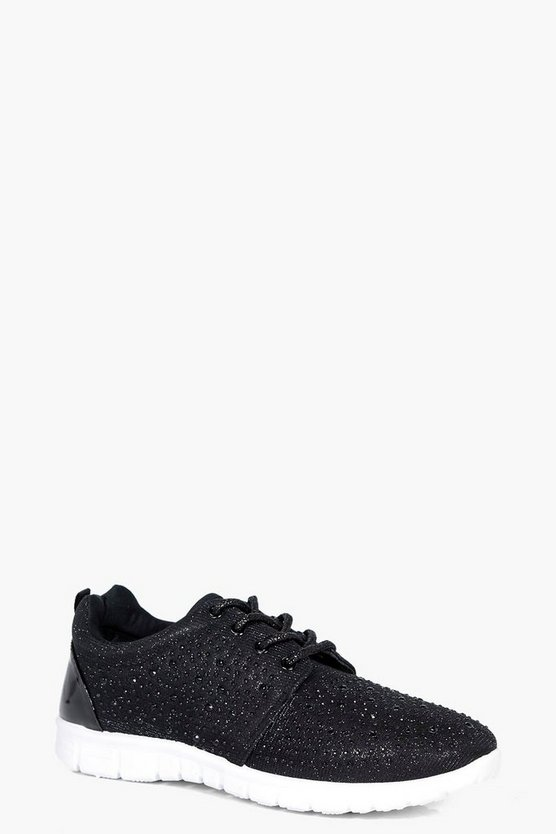 Imogen Diamante Lace Up Trainer