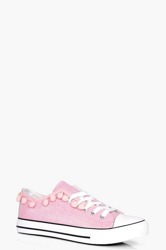 Olivia Pom Trim Lace Up Trainer