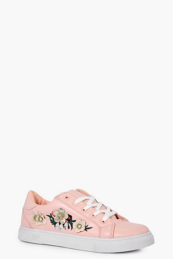 Charlotte Embellished Lace Up Trainers