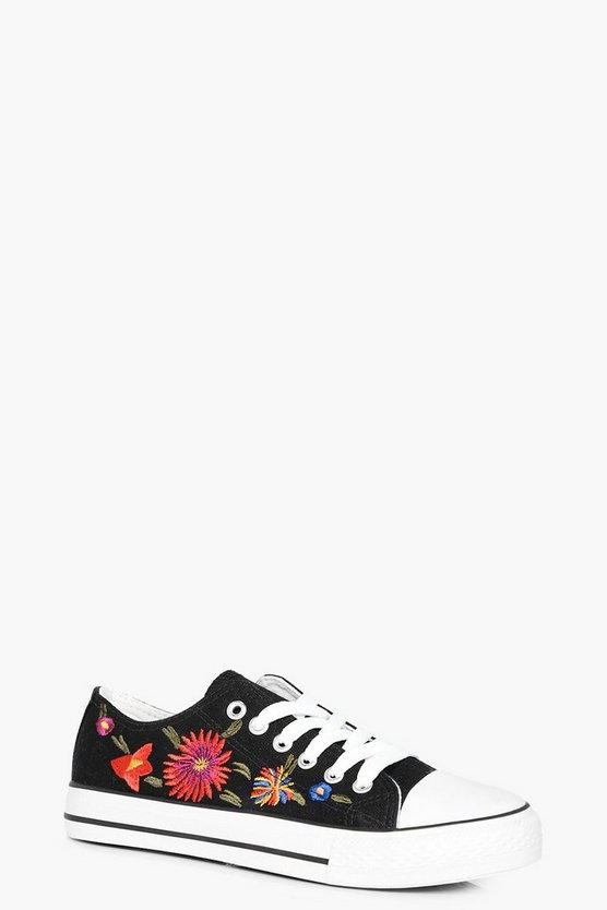 Paige Embroidered Lace Up Trainer