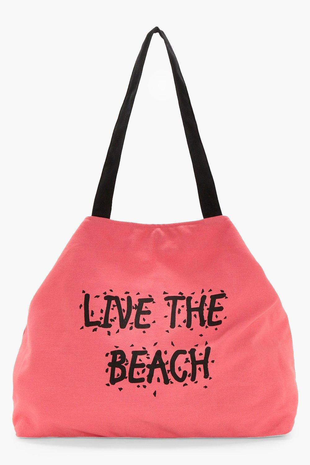 Slogan Canvas Beach Bag - coral - Olivia Slogan Ca