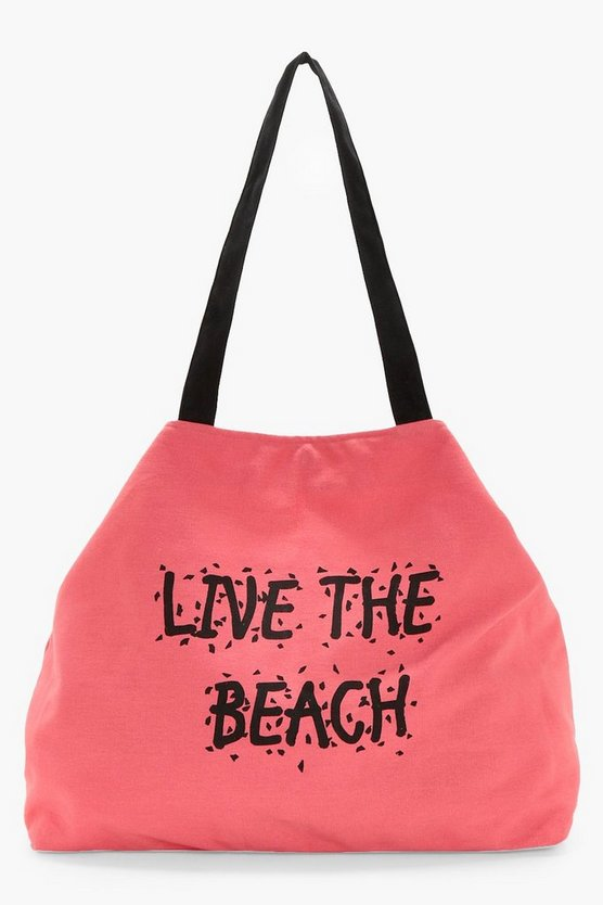 Olivia Slogan Canvas Beach Bag