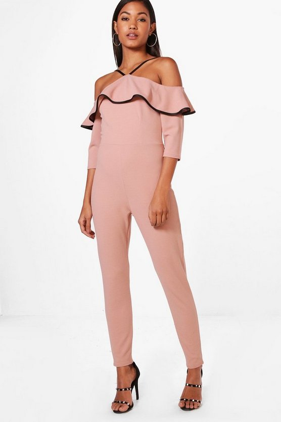 Kelly Contrast Frill Jumpsuit