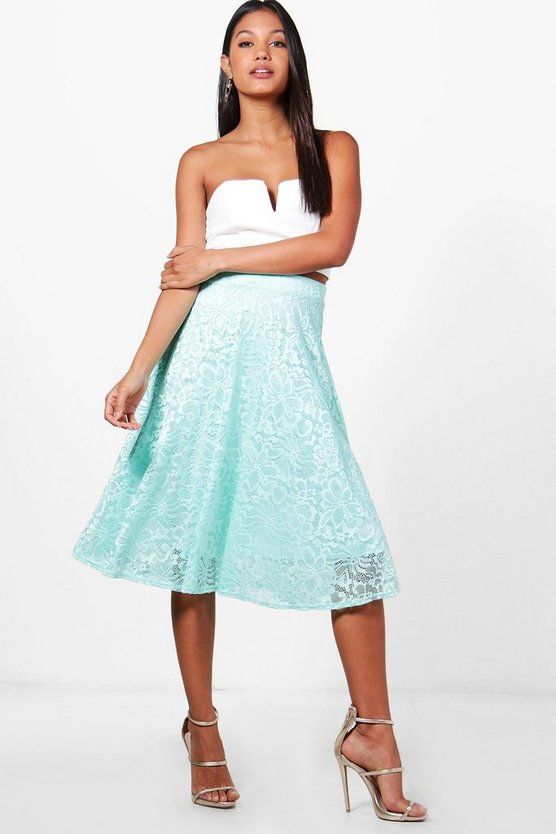 Calla Basic Lace Skater Midi Skirt