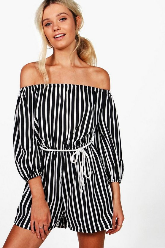 Norah Striped Off The Shoulder Rope Belt Playsuit