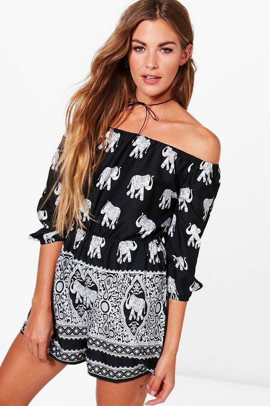 Piper Elephant Print Off The Shoulder Rope Belt Playsuit
