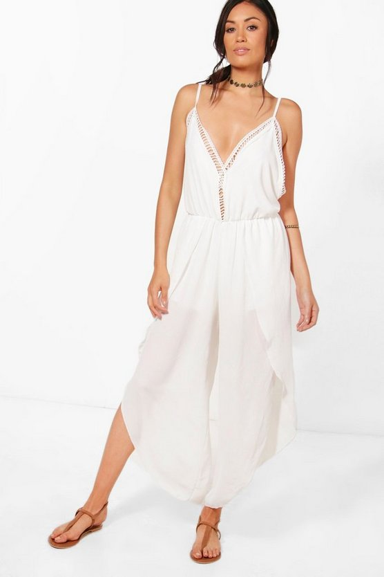 Niamh Crochet Trim Split Leg Jumpsuit