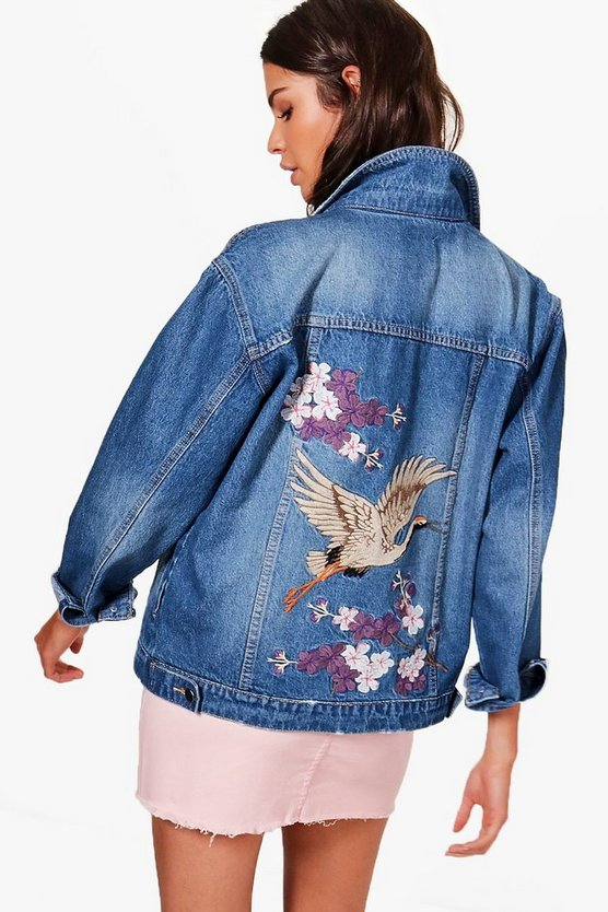 Clara Oriental Embroidered Denim Jacket