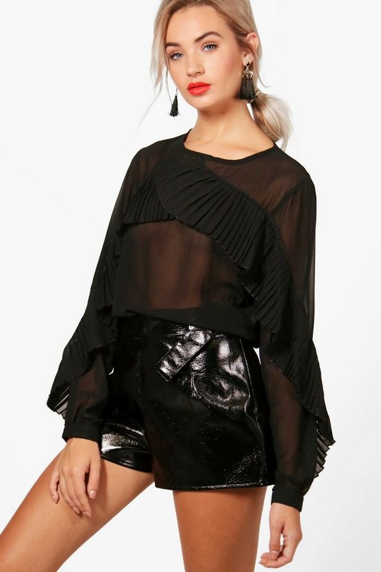 Eliza Ruffle Pleated Blouse