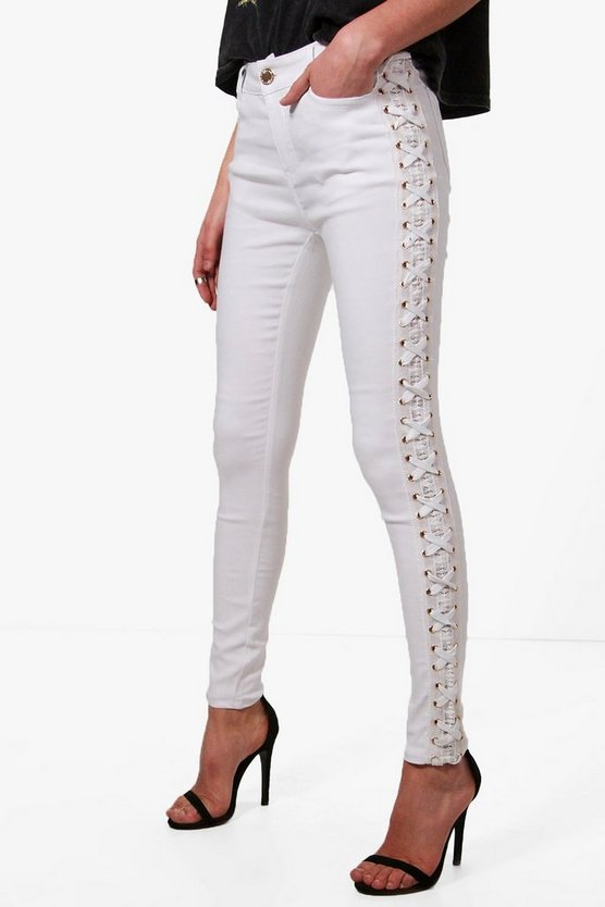 Selma Side Lace Up Skinny Jeans