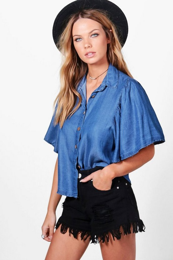 Jo Frill Sleeve Button Front Shirt