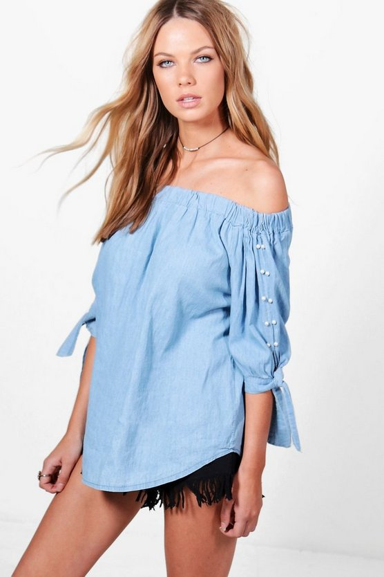 Jessie Pearl Embellished Off The Shoulder Denim Top