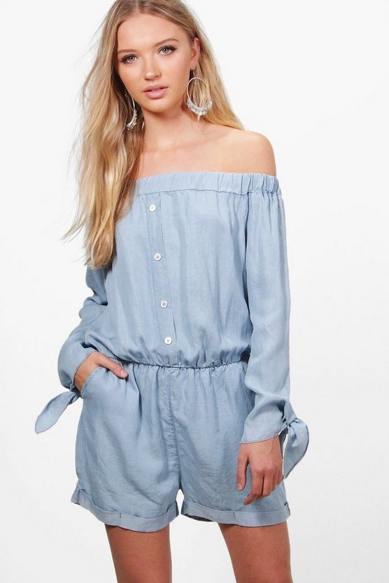 Janet Tie Sleeve Denim Bardot Jumpsuit