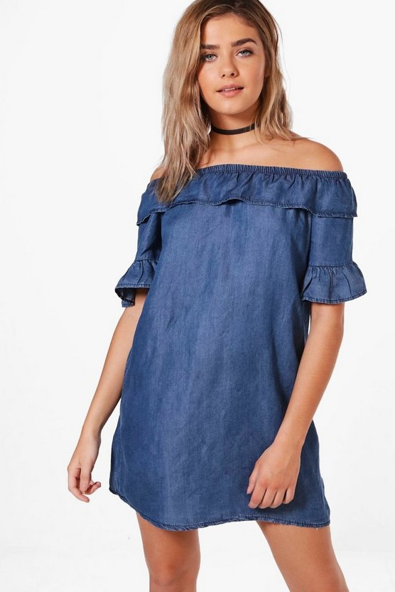 Rosie Ruffle Denim Dress
