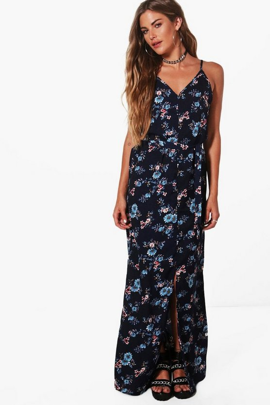 Ruby Strappy Tie Waist Woven Maxi Dress