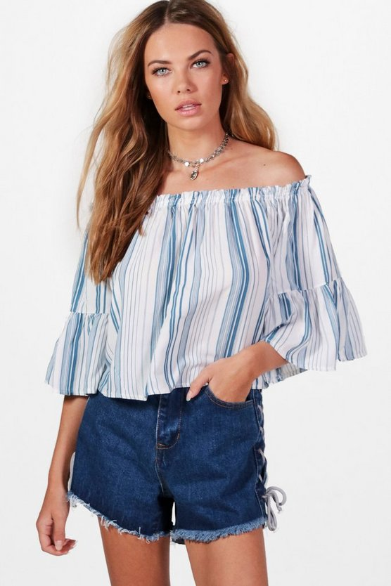 Enya Off The Shoulder Stripe Shirt