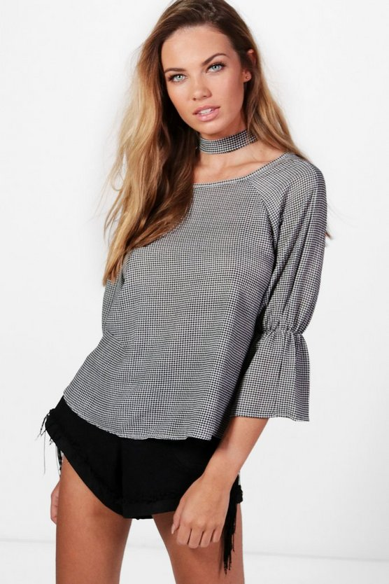 Willow Gingham Tie Back Choker Top