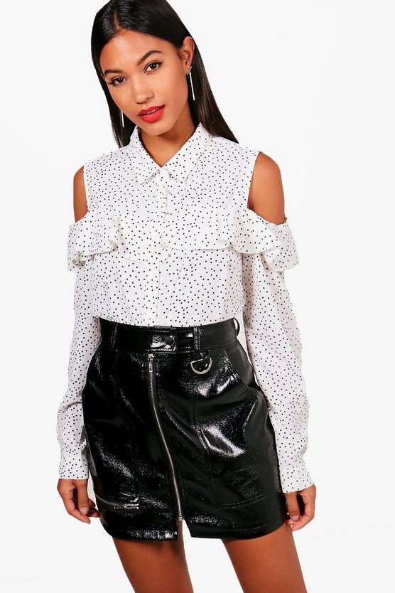 Georgia Ruffle Spot Open Shoulder Shirt