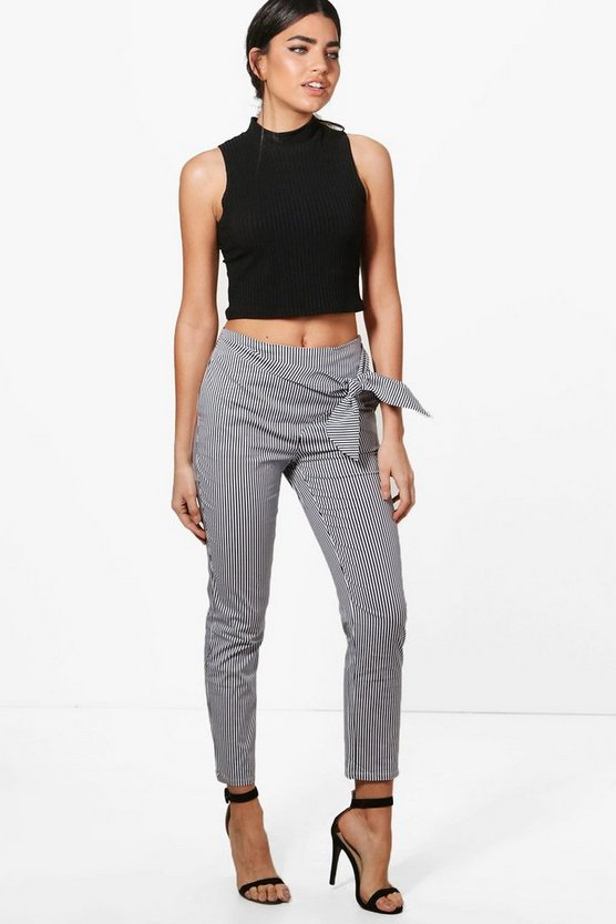 Ellie Pinstripe Wrap Front Slim Fit Trousers
