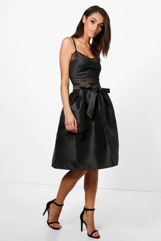 Azaria Bow Front Woven Box Pleat Midi Skirt