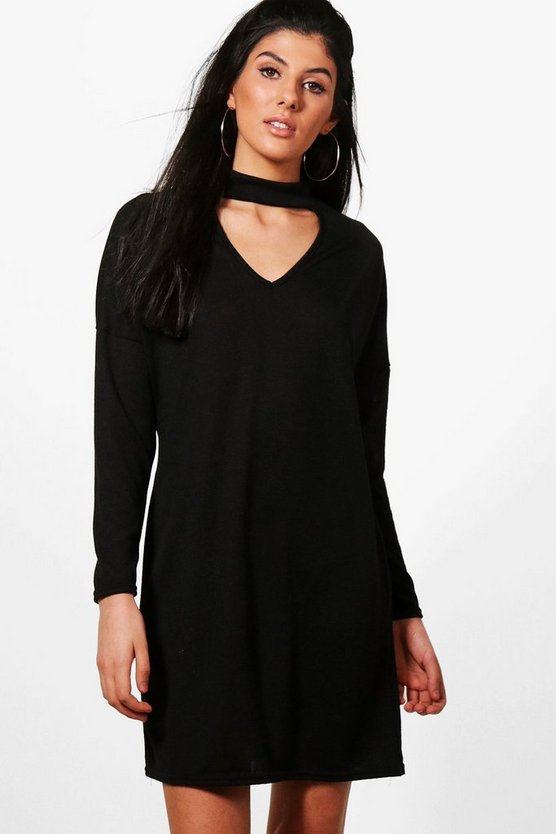 Joanna Choker Batwing Knitted Dress