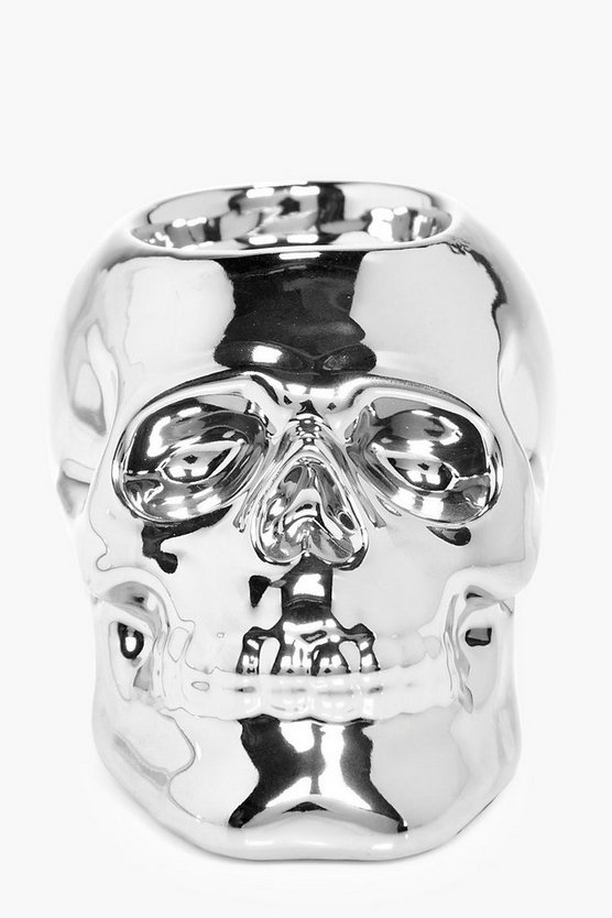 Metallic Silver Skull Tea Light Holder