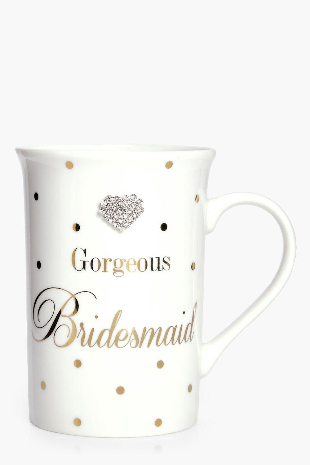 Bridesmaid Diamante Mug - ivory
