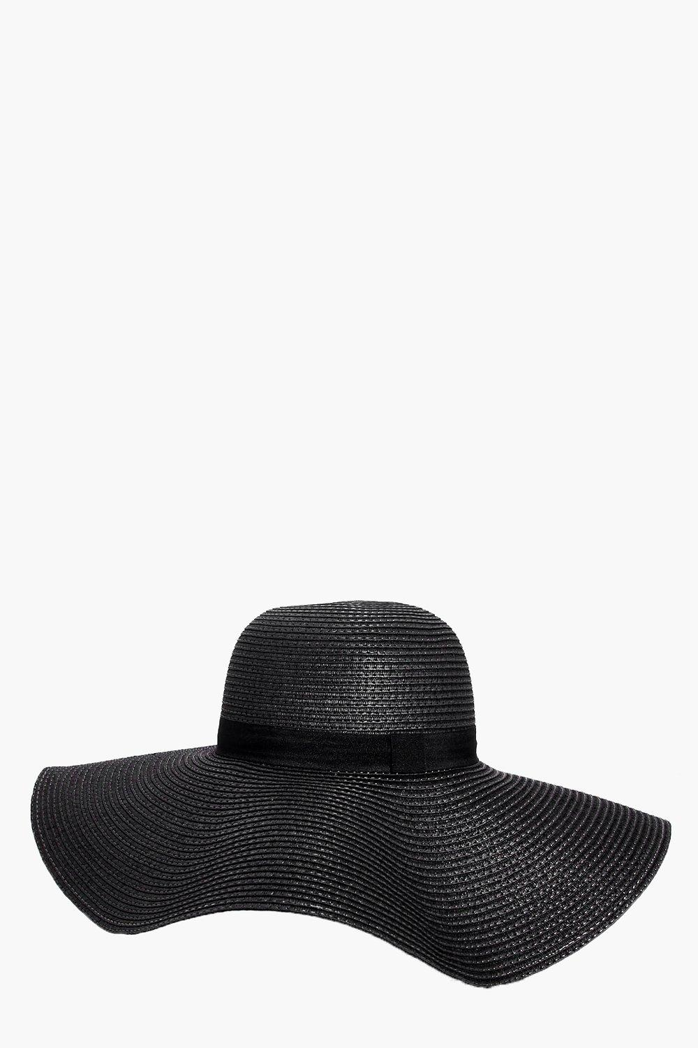 Straw Floppy Hat - black - Alice Straw Floppy Hat