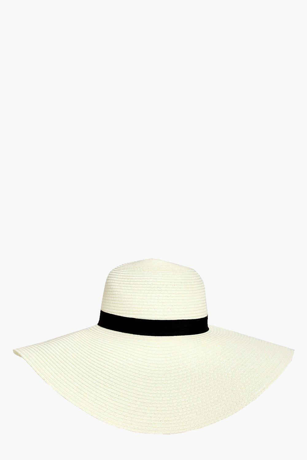 Straw Floppy Hat - white - Alice Straw Floppy Hat