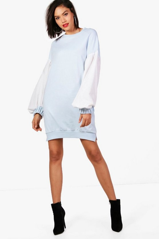 Heather Poplin Balloon Sleeve Sweat Dress