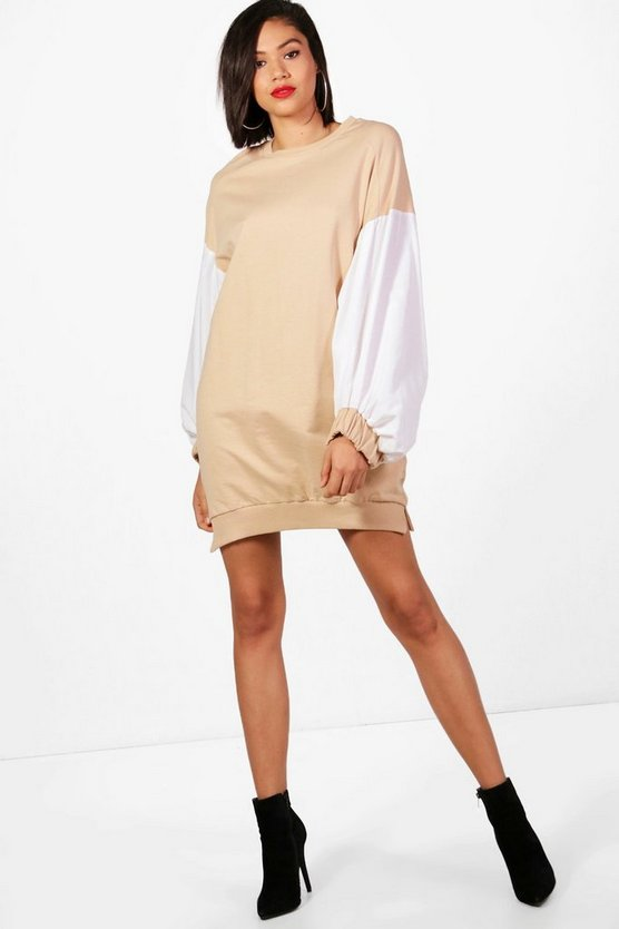 Poplin Balloon Sleeve Sweat Dress
