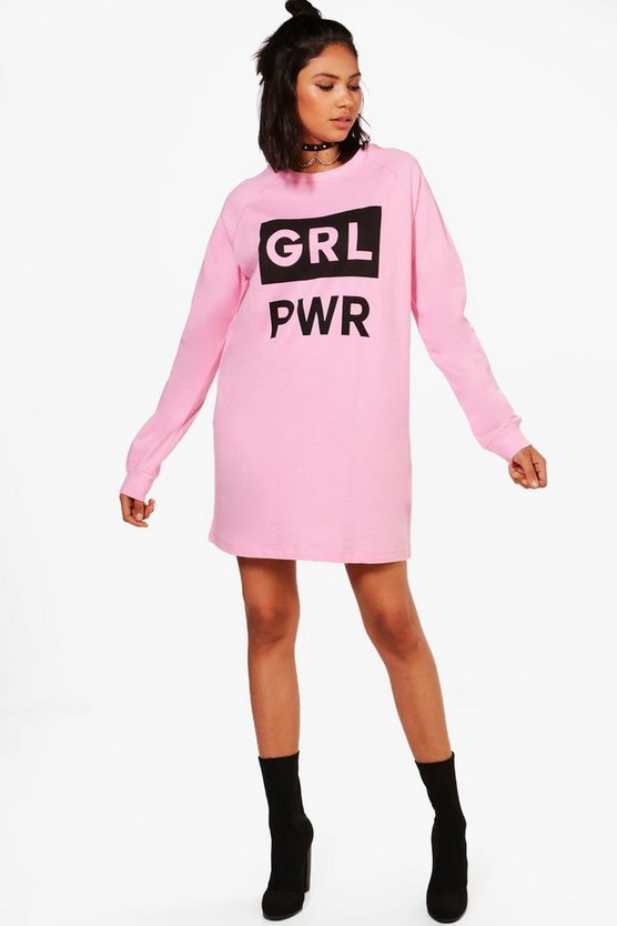 Rose GRL PWR Slogan Sweat Dress