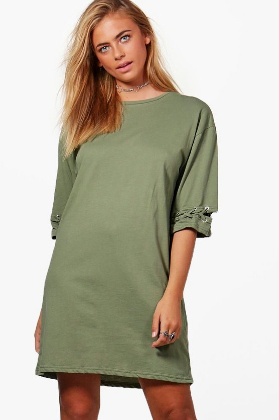 Lola Eyelet Lace Up Cuff T-Shirt Dress