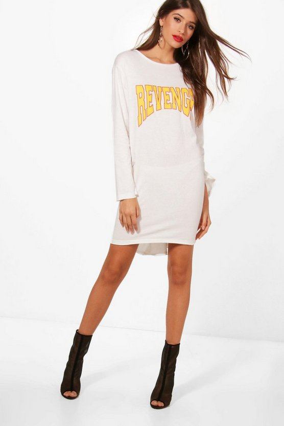 Codie Revenge Lace Up Slogan Tee Dress
