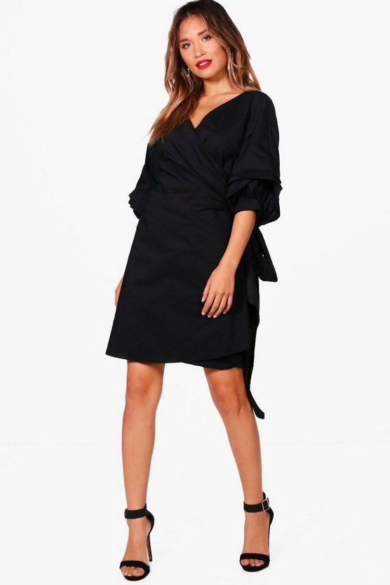 Ruffle Wrap Shift Dress