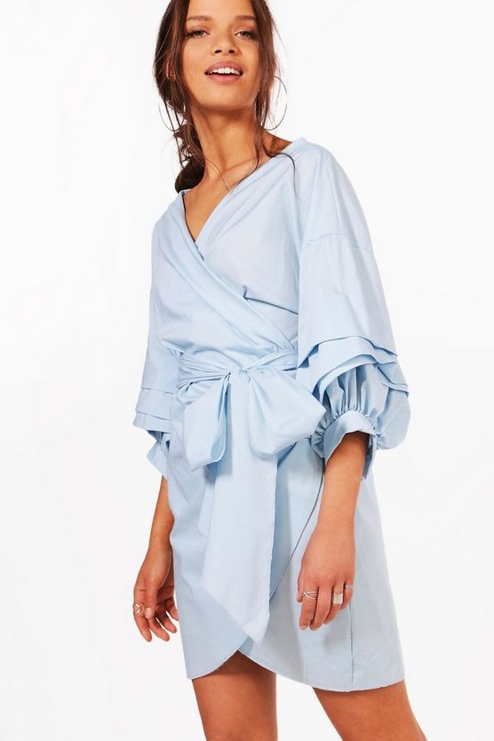 Lottie Ruffle Wrap Shift Dress