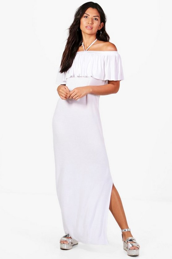 Heather Halterneck Ruffle Maxi Dress