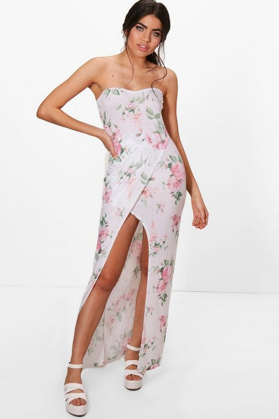 Frankie Floral Bandeau Wrap Maxi Dress