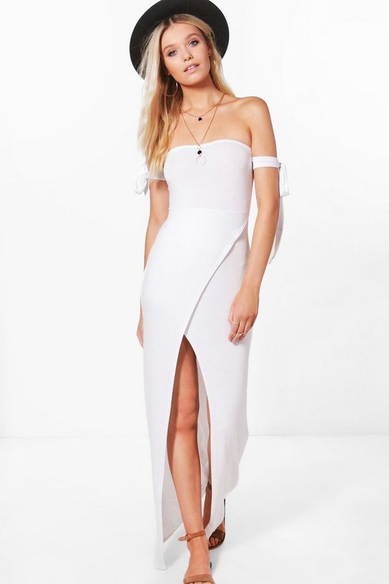 Raquel Bandeau Split Front Maxi Dress