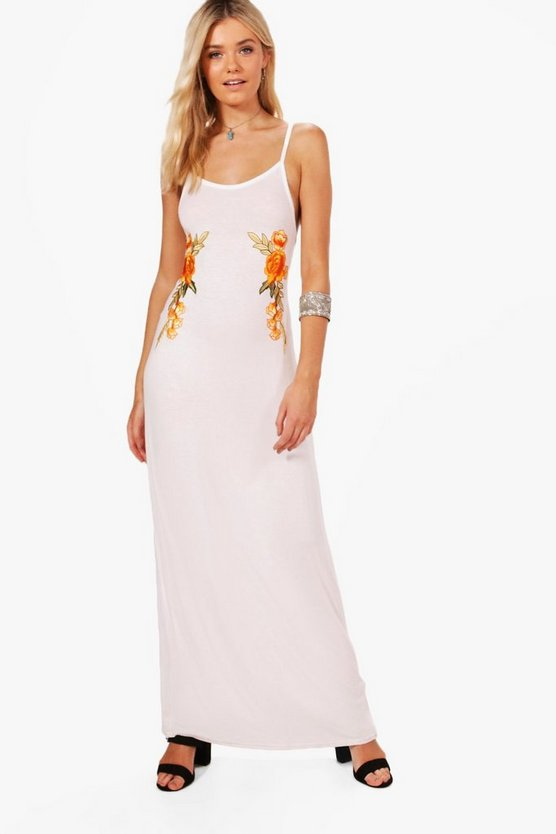 Halterneck Embroidered Maxi Dress