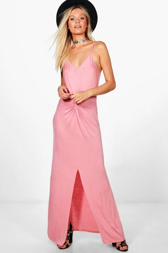 Knot Ruched Maxi Dress