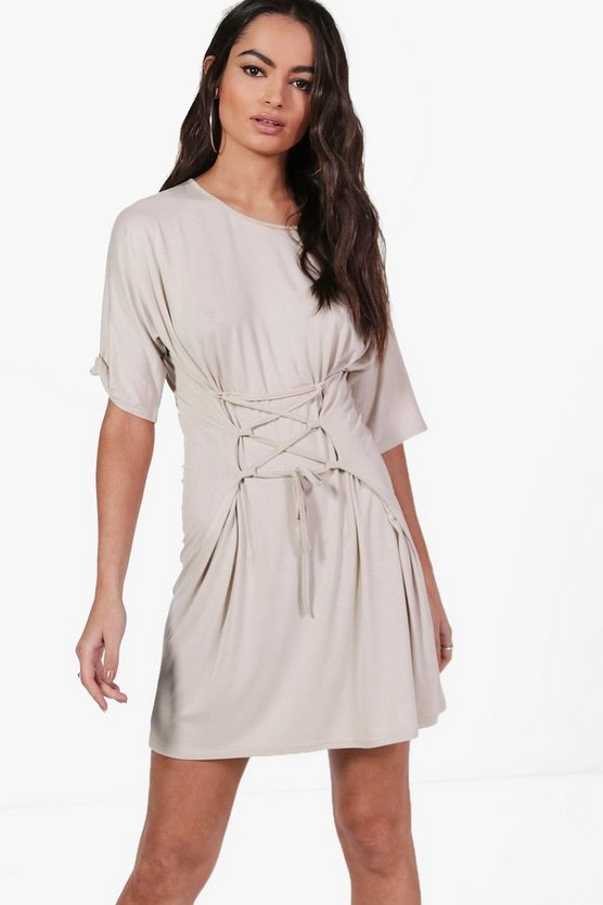 Keira Lace Up Corset T-Shirt Dress