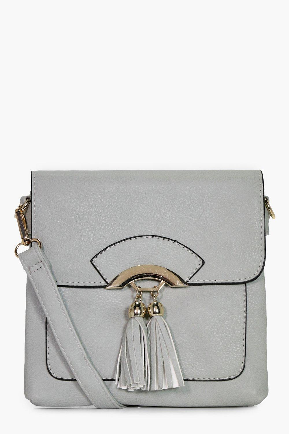 Double Tassel Cross Body Bag - grey - Olivia Doubl