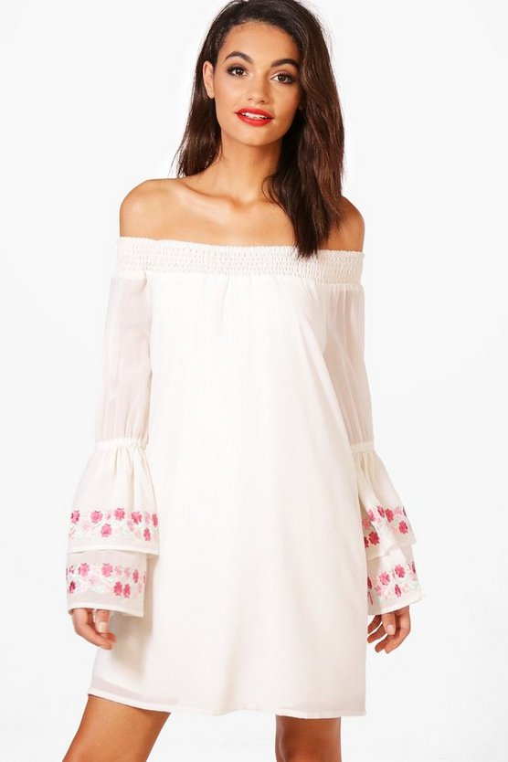 May Embroidered Flute Sleeve Shift Dress